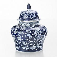 Potiche (vaso C/ Tampa) Blue And White 35,5 Diam X 43,2 Cm
