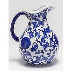 Vaso de Porcelana Com Alça Blue And White 21,08 X 16,76 X 25,91 Cm