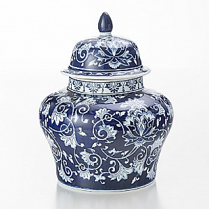 Potiche (vaso C/ Tampa) Blue And White 35,5 Diam X 43,2 Cm