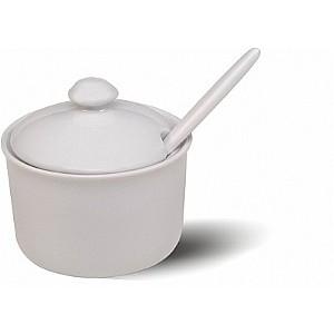 Açucareiro Porcelana Branca C/ Tampa 250 Ml