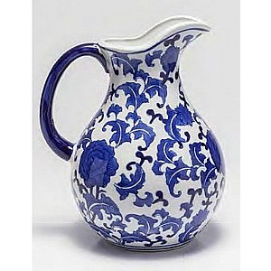 Vaso de Porcelana Com Alça Blue And White 21,08 X 16,76 X 25,91 Cm