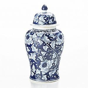 Potiche (vaso C/ Tampa) Ginger Blue 24,1 Diam X 45,7 Cm